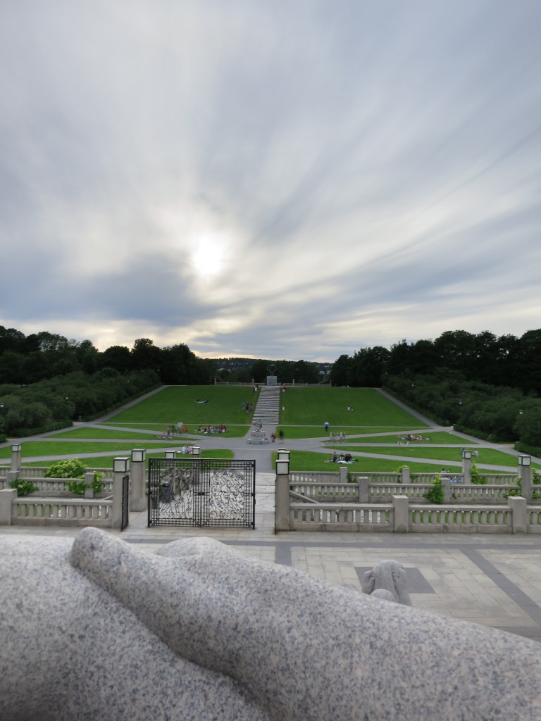 Vigeland Park viewed over clasped granite hands
