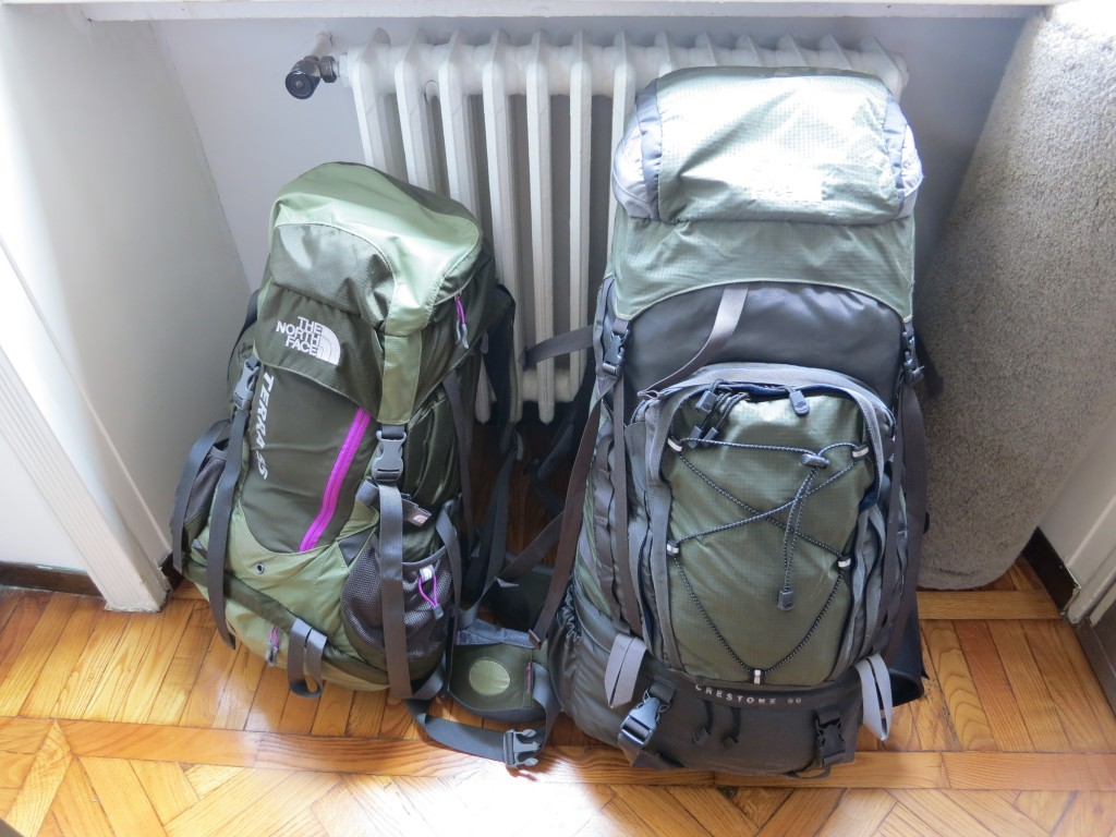 Packed for cheapo airline - My pack (right) is supposed to only be 9% larger than Colleen's but right now it's well over twice the volume of hers because it's packed for an Easyjet flight from Dubrovnik to Milan.