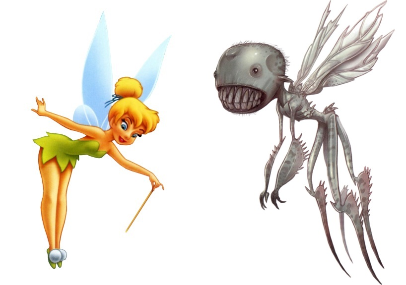 When I think fairy, the first picture to come to mind is of course Tinkerbell. However, turning a man blind is dark stuff, so on the right I have an appropriately dark fairy, the sucker from the Pan's Labyrinth & Hellboy movies (they're not exactly the same but very similar)