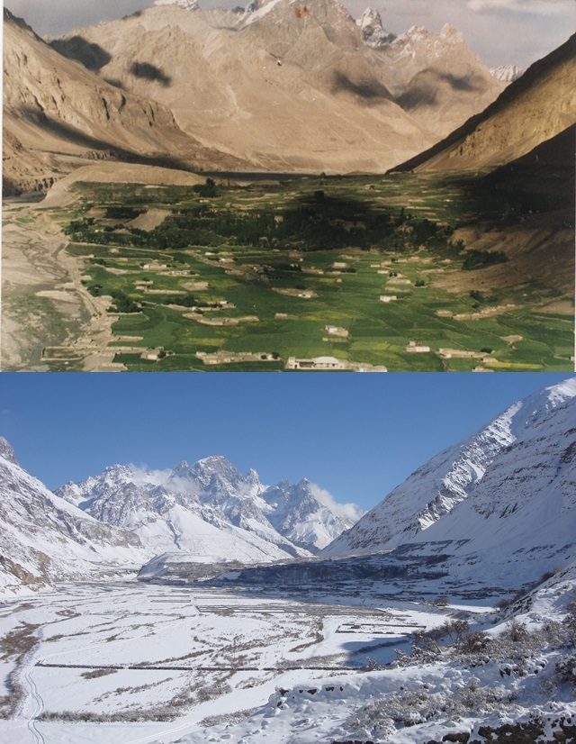 Top - Shimshal in summer, Bottom - Shimshal in winter