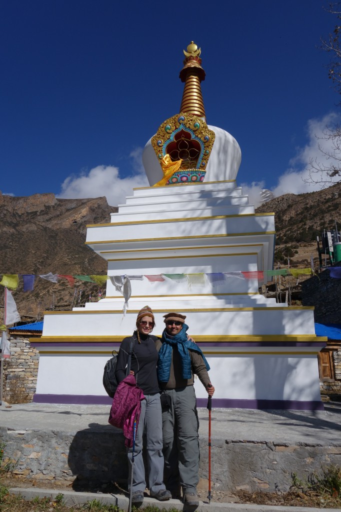 Expressing gratitude for making it out alive at stupa in Ghyaru