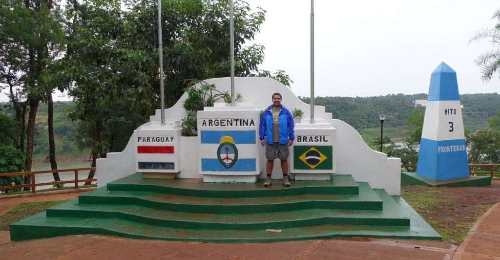 Me standing by the Tres Fronteras marker